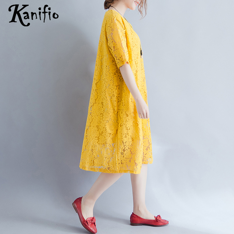 2ca98d532c5 Kanifio Brand Clothing Fashion Women Plus Size Casual Loose Lace Dress Sexl Ladies  Summer New Dresses Female Long Tunic Vestidos-in Dresses from Women's ...