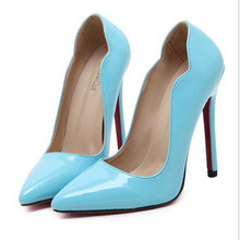 Ladies Sexy Red Bottom High Heels Fashion Leather Pointed Toe Stiletto Heel Women Pumps Neon Color Party Wedding Shoes Woman