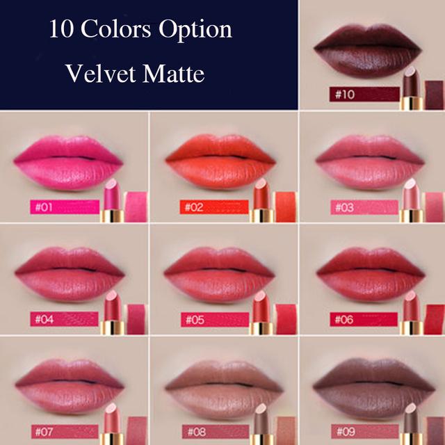TUTU Brand Top Velvet Matte Lipstick Long-lasting Waterproof Party Cosmetics Lip Stick Batom Makeup 10 Colors Optional With Box