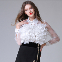 HIGH QUALITY New Fashion 2017 Designer Top Blouse Women's Long Sleeve Ruffle Flower Appliques Summer Blouse Shirt