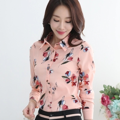 Floral blouse long sleeve 2019 new large size shirt han fan slim slim fashion chiffon printed bottom shirt in Blouses amp Shirts from Women 39 s Clothing