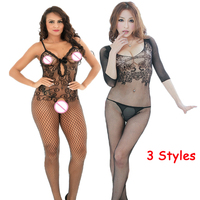Sexy Lingerie Hollow Out Teddies Bodystocking Open Crotch Bodysuit Mesh Lingerie Lace Sleepwear Pantyhose Catsuit Erotic costume Teddies