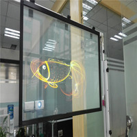 1.52 × 15メートル3dクリアリアプロジェクションフィルム/粘着リアプロジェクションフィルム用ウィンドウ広告