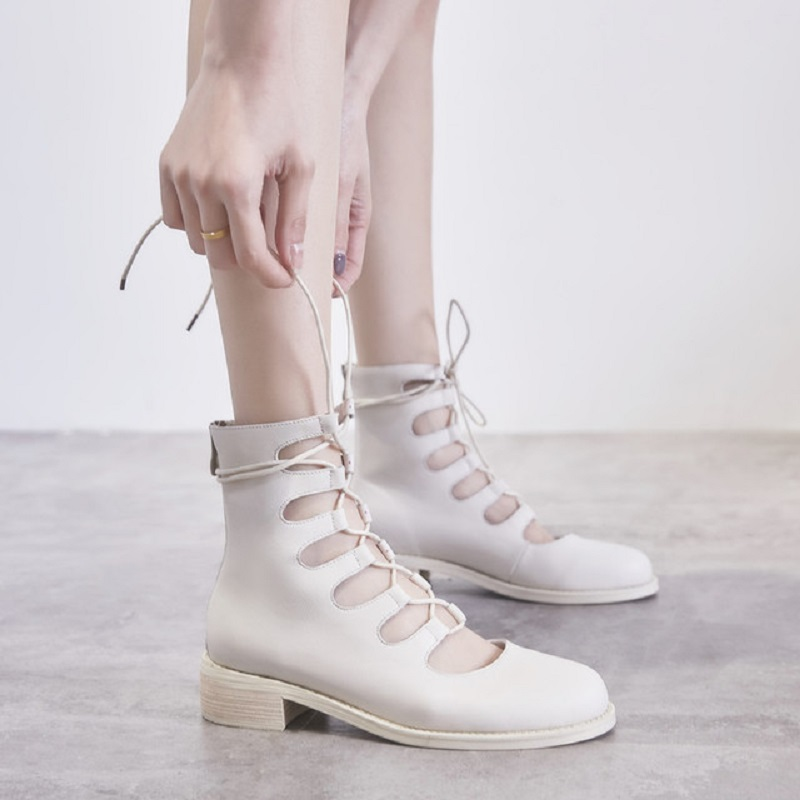 Stiefel Casual Solide fsj01 Echtem Schuhe Runde Leder Mitte Reitreiter Wade Lace Frauen Kappe Full fsj03 Grain Nähen Fsj Fsj02 Up AwqF4Oq