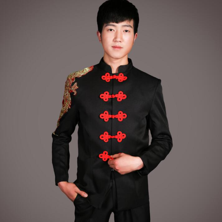 Singer Dance Stage Clothing For Men Chinese Tunic Suit Set With Pants 2019 Mens Wedding Suits Groom Formal Dress Black Red