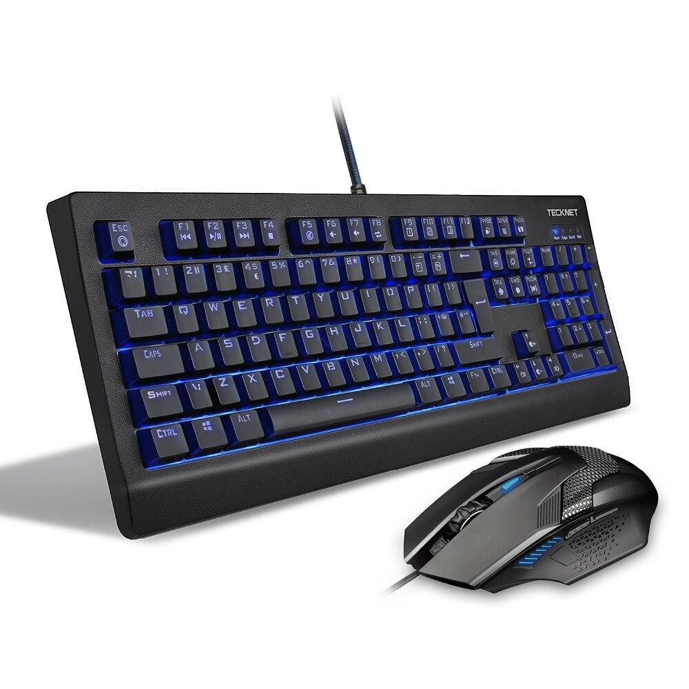 TeckNet Arctrix Pro Mechanical Gaming Keyboard, LED Illuminated, Water-Resistant, UK Layout with free mousr for gamer цена и фото