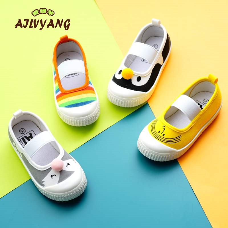 2019 New Spring Autumn Children's Canvas Shoes Square Mouth Girls Princess Shoes Toddler Boys Slip-on Shoes