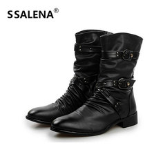 Men Mid Calf Leather Boots Male Low Heels Comfortable Leisure High Top Shoes Men Buckle Strap Pointed Toe Tactical Boots AA60531