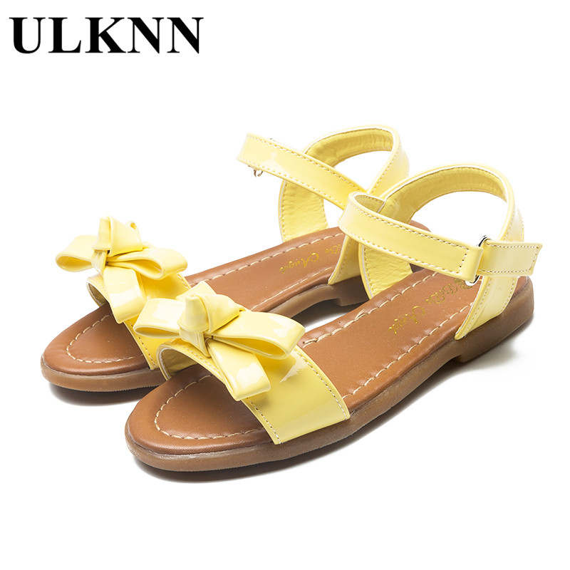 ULKNN Big Children's Summer Sandals new princess shoes high-quality soft leather bow sandals tendon flat with sandals yellow Hot