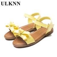 ULKNN Grandes das Crianças Sandálias de Verão sapatos novos princesa arco sandálias tendão plano com sandálias de couro macio de alta qualidade amarelo Quente