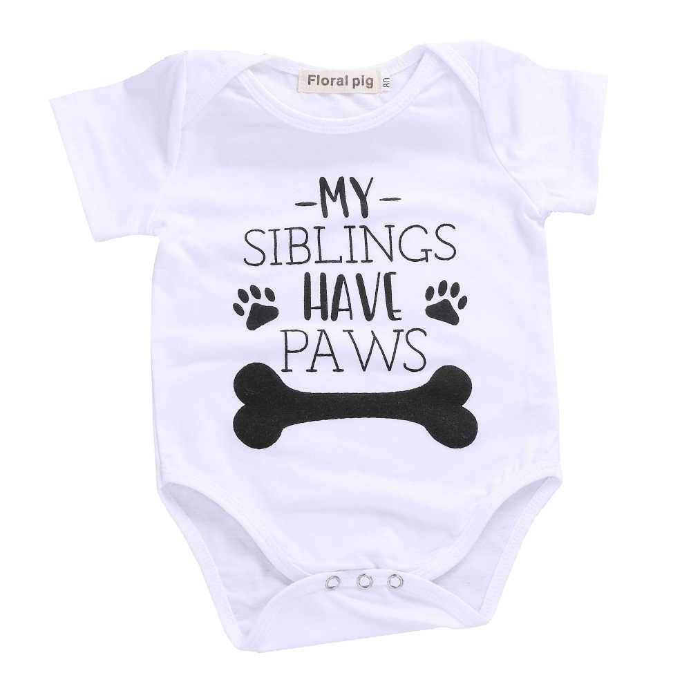 ee18c62e7e7f ... 2018 Baby Boy Girl Clothes Party Siblings Daddy Auntie Letter Baby  Bodysuit Short Sleeve Jumpsuit Baby ...
