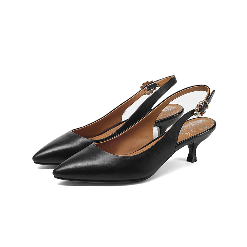 Doratasia Brand New Genuine Leather Buckle Strap Thin Med Heels Solid Best Quality Shoes Woman Fashion Summer Pumps
