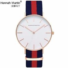 Hannah Martin Marca de Lujo Relojes Hombres Mujeres Reloj de Cuarzo de cuero de Nylon RoseGold Plata Relojes Reloj Mujer Montre Femme Horloge
