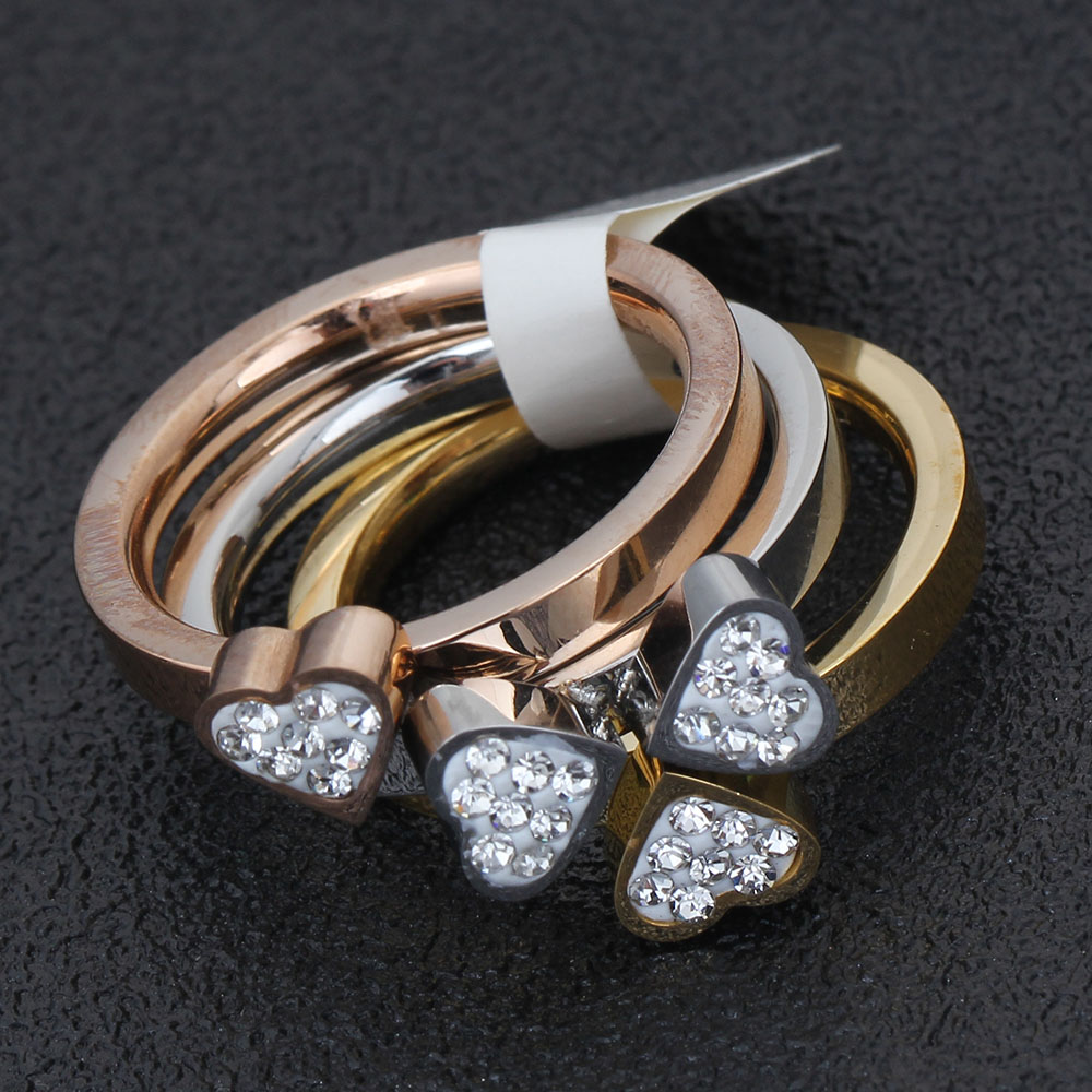 316L Stainless Steel Jewelry Unique 3in1 Heart Rings For Women Surgical Steel Nickle Free CZ Crystal Flower rings 6
