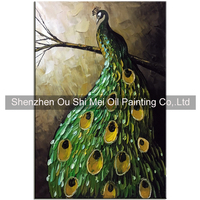 100% Hand Painted Beautiful Knife Green Peacock Paintings Modern Animals Oil Painting On Canvas for Living Room Decoration