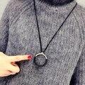 2016 Nuevo de Las Mujeres de Gran Círculo Simple Cuerda Accesorios de Decoración Colgante de Collar de Cadena Suéter Largo Párrafo Del Todo-Fósforo Femenino