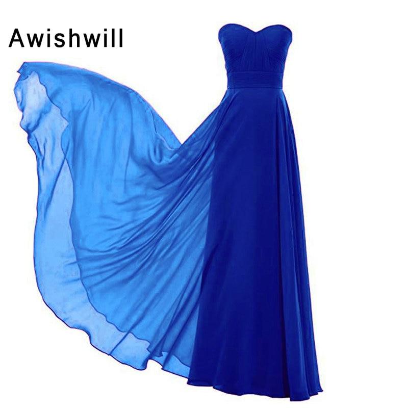Nouveauté robe de demoiselle d'honneur chérie ruché une ligne robes de demoiselle d'honneur en mousseline de soie élégant vert menthe violet bleu 2019 - 6