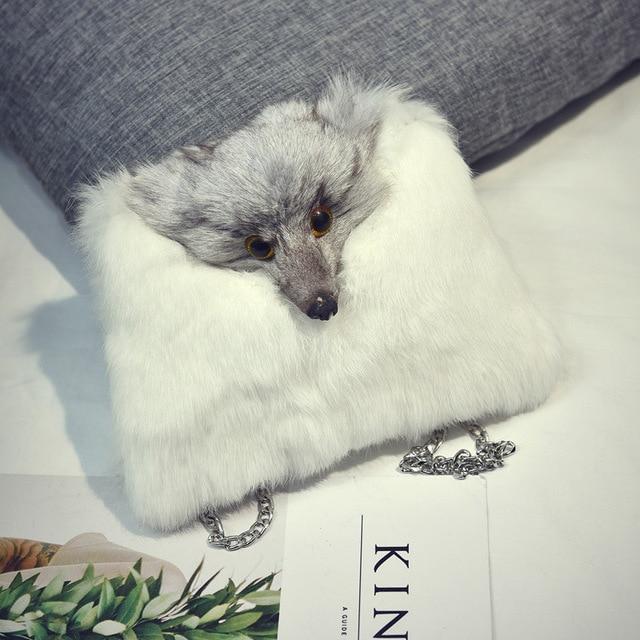 Fashion Handbags 2016 Genuine Fur Women Bag Cute Fox Causal Clutch Purse Small Chain Crossbody Purse Bolsos Mujer
