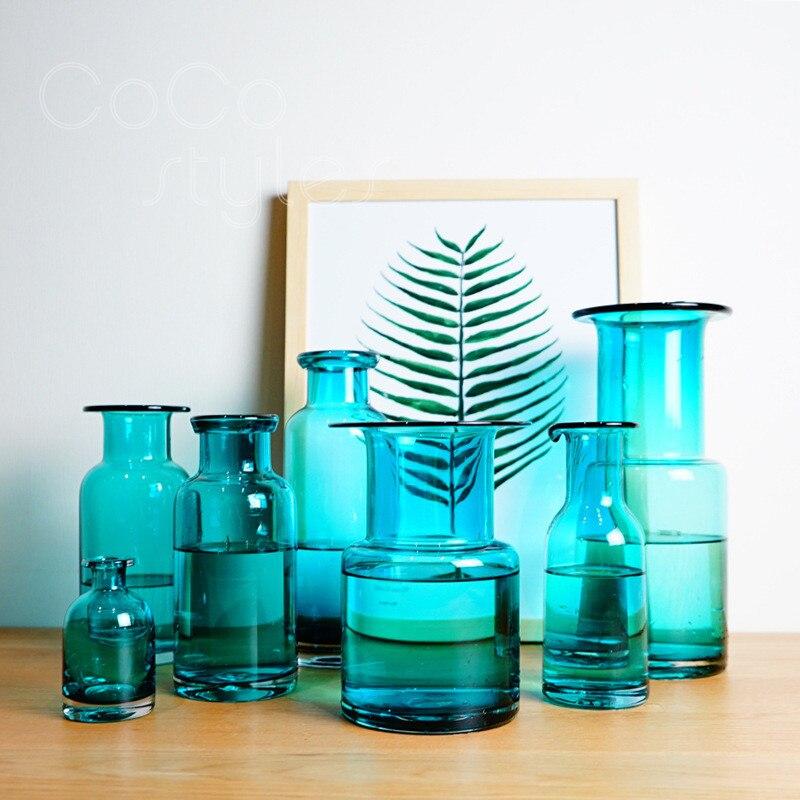 Cocostyles InsFashion magnifique et accrocheur vase en verre bleu pour décor à la maison de style danois et décor plat - 3