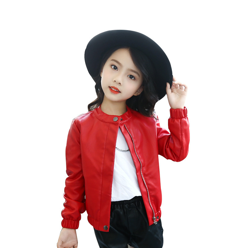 068eb64d1877 Teenage Girls Motorcycle PU Leather Jackets and coats 2018 Autumn ...