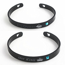 Fashion Jewelry His Queen Her King Couple Bracelets Bangles Heart Crown Charm For Women Men