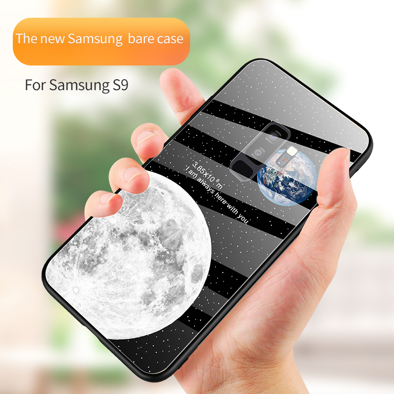 Earth Moon luxury cover for samsung galaxy note 9 8 glass  case original shockproof s8 s9 plus coque