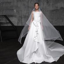 Verngo Aline Wedding Dress Ivory Satin Princess Gowns Open back Elegant Bride With a Big Bow Vestido De Noiva