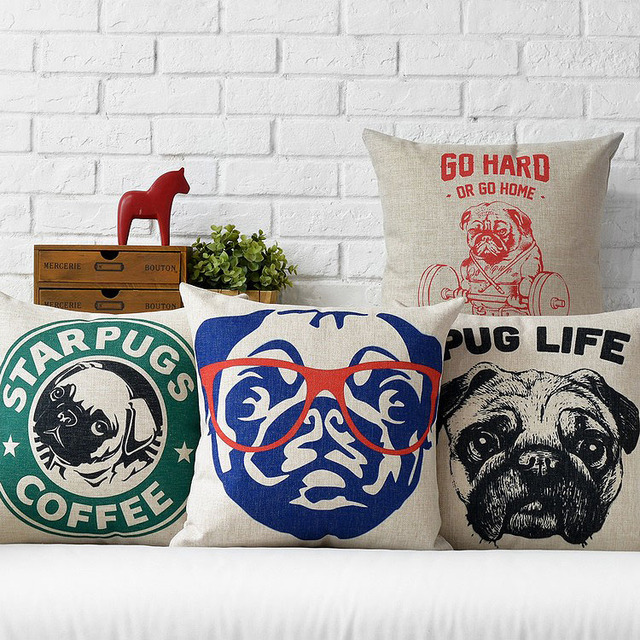 4 styles Star pugs Custom cushion covers Dog Love Decorative pillows cases  Salon Throw pillows covers Kids Birthday Gift -in Cushion from Home &