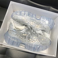 Brand Luxury Crystal Sneakers Women Platform Casual Shoes Rhinestone Chunky Sneaker Women Trainers Transparent Shoes Woman