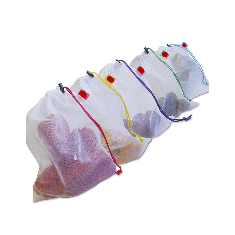 5pcs Reusable Produce Bags Mesh Ployester Vegetable Fruit Storage Pouch Grocery Organizer Bag Handbag Easy To See Through