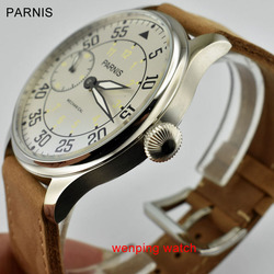 Parnis  New Arrival 44mm Hand Winding Mechanical Mens Watches Asia 6497 Mechanical Watch Men soft strap