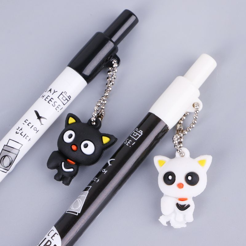 2pcs 0.5mm Cartoon Cat Pendant Mechanical Pencil Plastic Automatic Pencils Pen