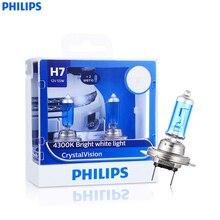 Philips 12 В 55 Вт crystalvision галогенные фары 2 шт. H1 H4 H7 H11 HB4/9006 4300 К 1100lm/ каждый авто спереди лампы автомобиля Foglight