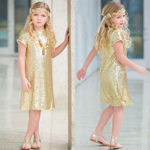 Sequins Short Sleeve Dress Girls Baby Kid Summer Dress Party Pageant Gown Princess Dress Children Casual Sundress