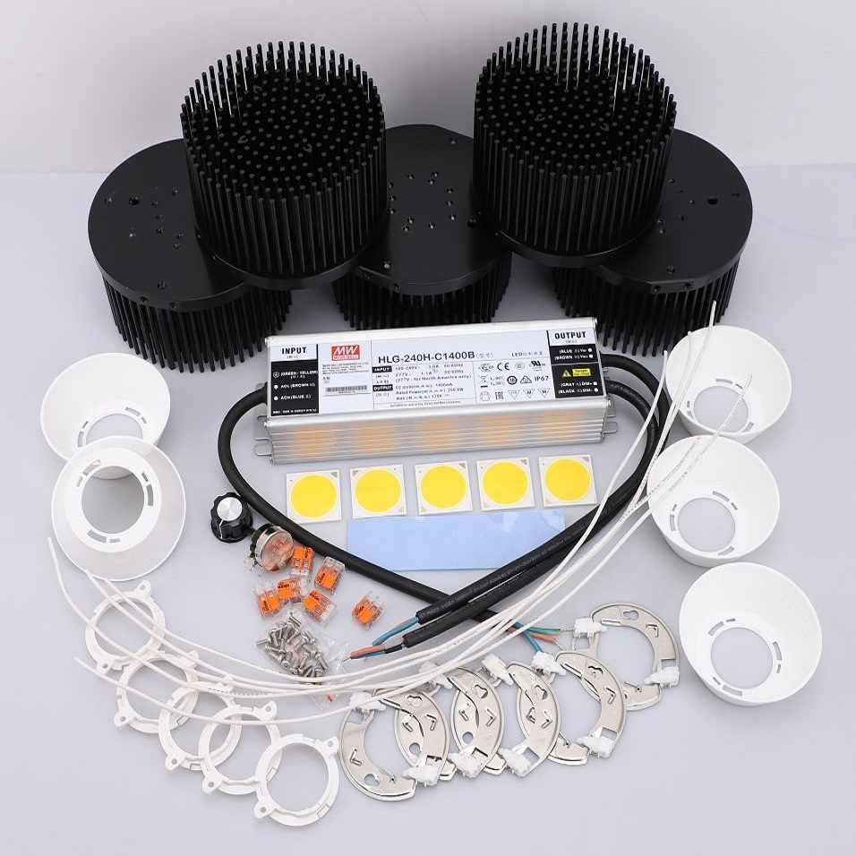 250 Вт CREE Cob CXB3590 светодиодный набор промышленных ламп отражатель/объектив 3000 K 3500 K 5000 K с Meanwell регулируемый светодиодный трансформатор HLG-240H-C1400B