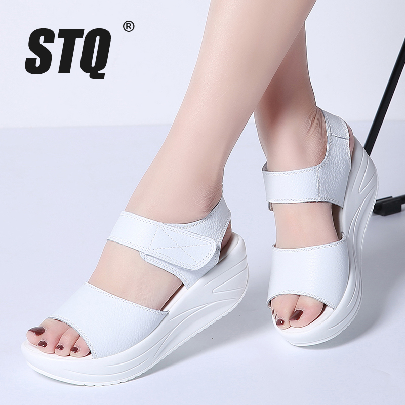 STQ Gladiator Sandals Platform White Wedge Women Open-Toe 9018