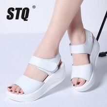STQ 2020 kadın sandalet yaz beyaz kama sandalet burnu açık platformu Sandalias bayanlar gladyatör sandalet kadınlar 9018