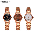 BOSCK Luxury Ladies Quartz Watch Rose Gold Diamond Watches Women Calendar Waterproof Casual Wristwatches 2056D relogio feminino
