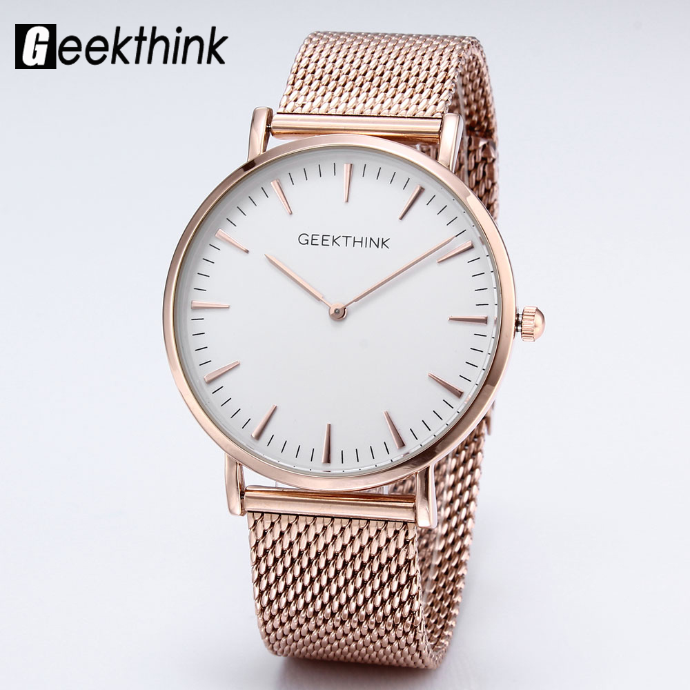 Top Luxury Brand Quartz watch Women Simple Dress Casual Japan Rose Gold stainless steel Mesh Band ultra thin clock female unisex