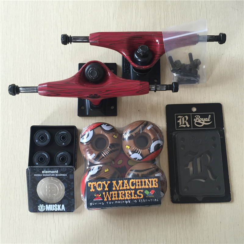 Free Shipping Skateboard Parts Element Aluminum 5.25 Skate Trucks TOY MACHINE PU Skate Wheels ELEMENT ABEC-7 Bearings