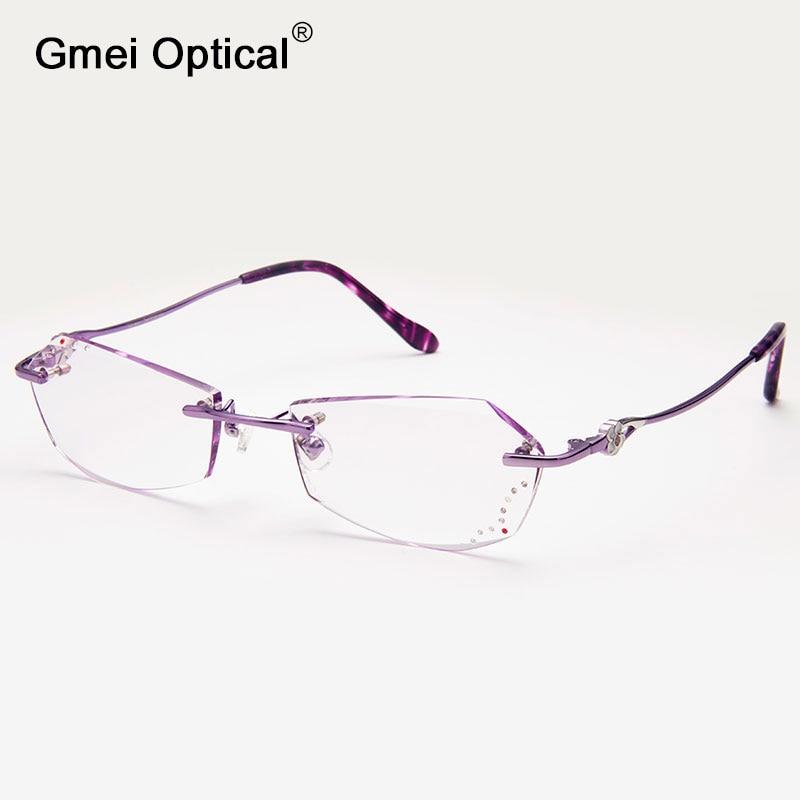 007c93f9392 Gmei Optical Q5811 Rimless Diamond Cutting Eyeglasses Frame for Women  Eyewear Glasses-in Eyewear Frames from Women s Clothing   Accessories