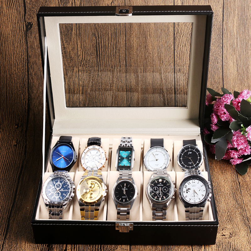New Luxury 10 Grid Leather Watch Box Jewelry Display Collection Storage Case Watch Organizer Box Holder reloj caixa relogio women jewelry watch box pink stripe leather wristwatch display case box rings collection storage organizer holder box case