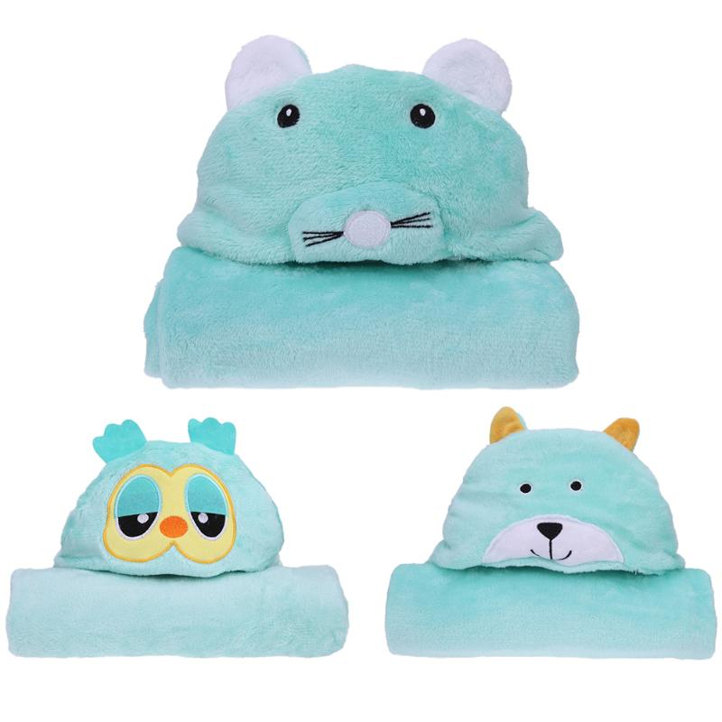 Baby Bath Towel Green Lovely Cartoon Animals Fleece Kids Hooded Cloak Bathrobe Soft Flan ...