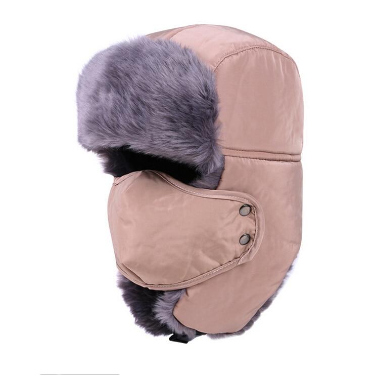 Bomber Hat Russian Earflap Cap Mens Fur Hat Mens Winter Hats Ear Flaps  Russian Fur Hat Mask Beanie Face Mask Balaclava Cap Man-in Holidays  Costumes from ... ebd70dea6ad