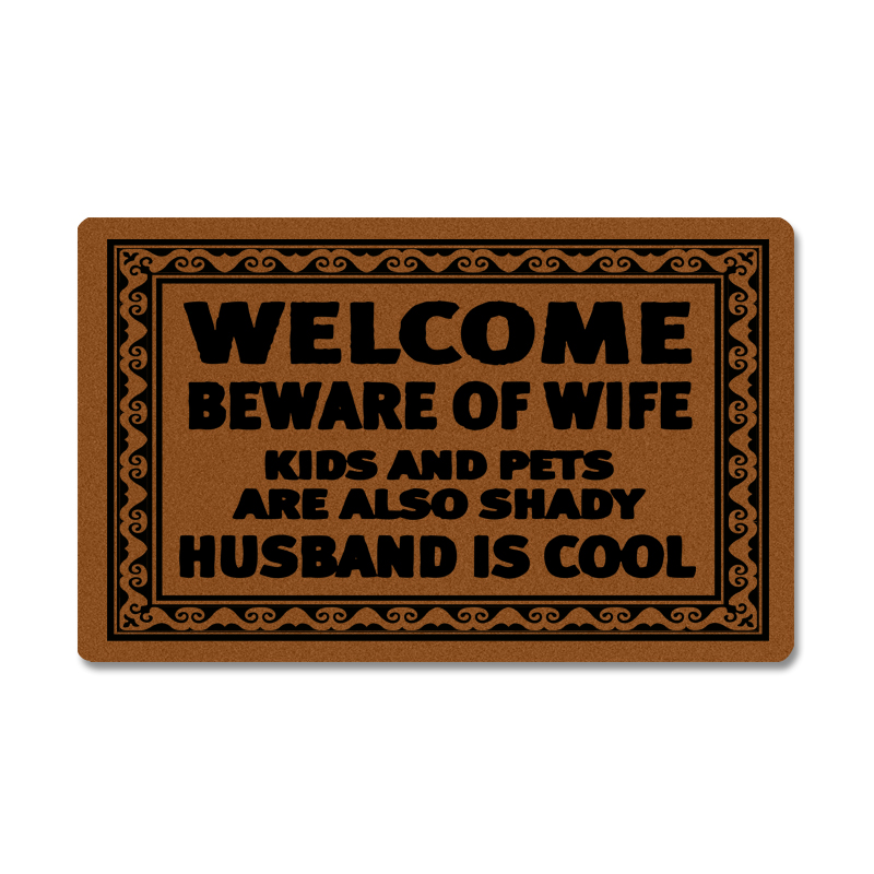 Entrance Door Mat Funny Doormat Welcome Beware Wife Kids Pets are Also Shady Husband is Cool Door Mats Outdoor Welcome Mats image