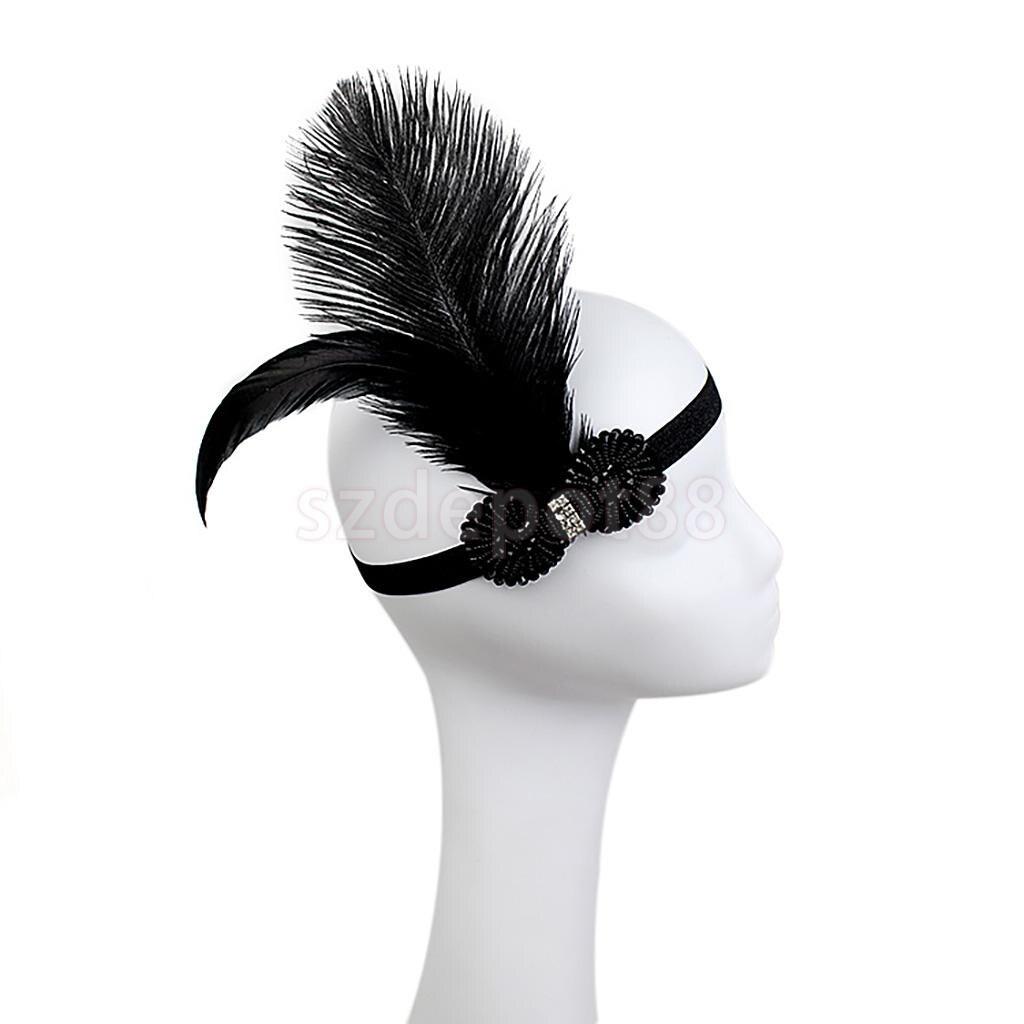 Woman Elastic Feather Headband 1920s Great Gatsby Charleston Party Diamond Forehead Decor Hair Accessory Black