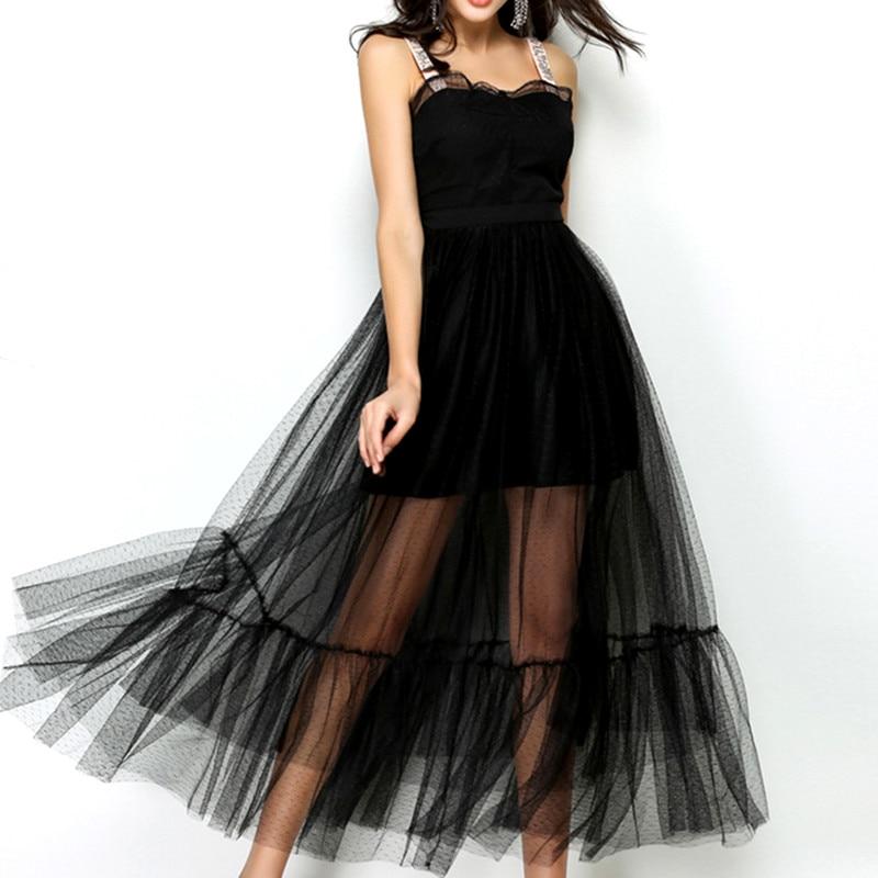 2018 Fashion Designer Runway Sexy Backless Dress Summer Women Spaghetti Strap Mesh Lace Belt Embroidery Holiday