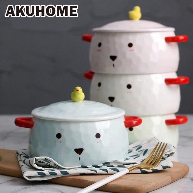 Большой Керамика миска корейский стиль мгновенный Лапша Чаша простой и творческих детская салатник AKUHOME