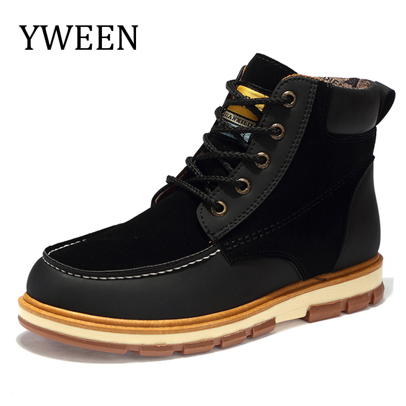 YWEEN Autumn Winter Men Boots New Waterproof Men Plush Leather Boots Big Size Shoes For Men цены онлайн