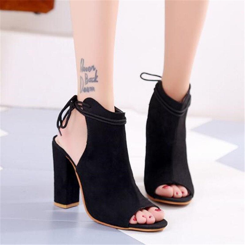 Stiletto-Heel-Shoes Peep-Toe Ankle-Boots High-Heel Women Fashion New Black Stretch Autumn